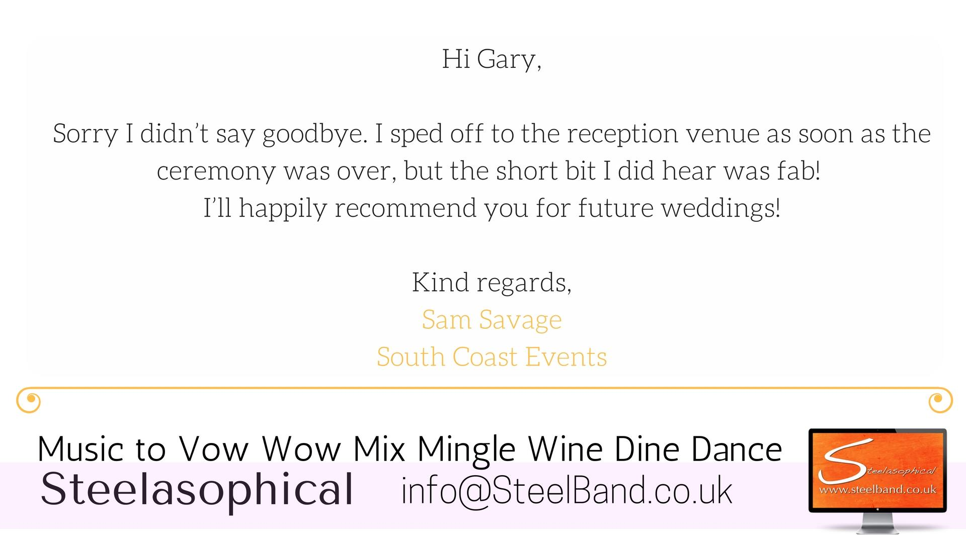 Sandbanks Hotel Steelasophical Steelband testimonial 004
